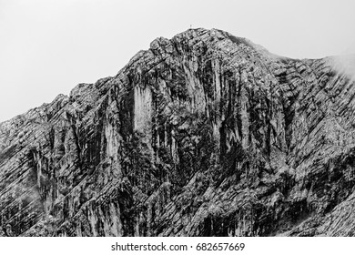 Black and white textured face of the mountain