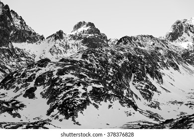 Black and white textured winter mountains in High Tatras