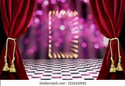 Black and White Tile Floor With Bokeh Lights and Red Velvet Curtains