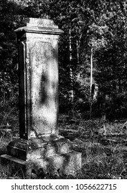 Black and white tombstone.