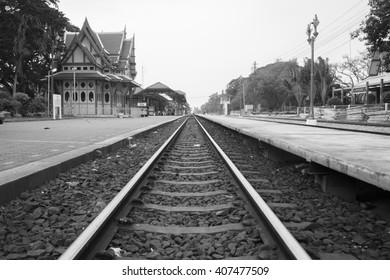 Black and White tone of Hua Hin Railway Station, Thailand