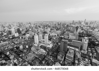Black and White, top view central business downtown. Bangkok Thailand