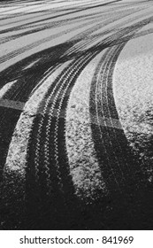 black and white tracks in the snow