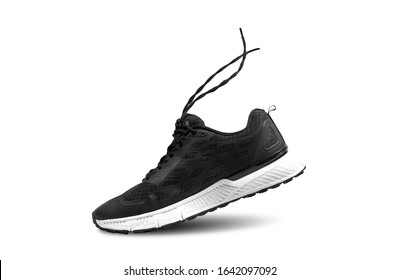 Black and white trail running shoes with moving rope isolated on white background , Right side
