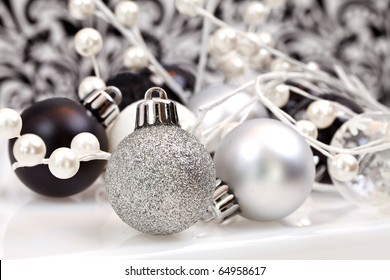 Black And White Trendy Christmas Ornaments, focus is on the front of the ornament