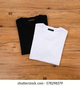 Black white T-shirt wood