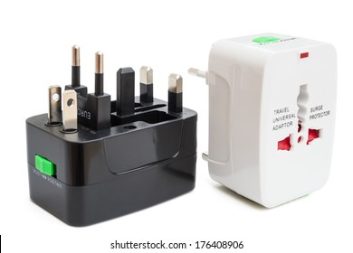 black and white universal adapters with clipping path