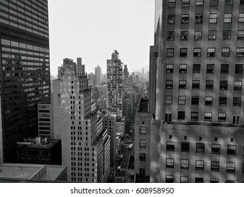 black and white Urban scenes from a large city skyline