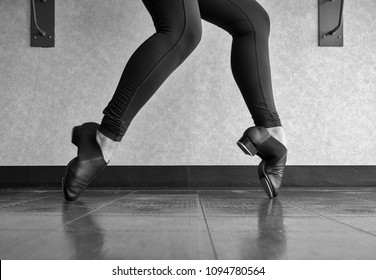 Black and white version of Tap shoe Toe Stand in Tap Class