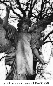 Black and White Victorian Angel Grave Marker