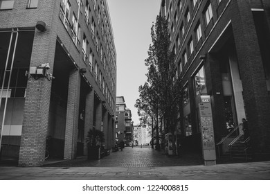 Black and white view of Birmingham city center buildings in Oozells Street, Nov 1, 2018 - Birmingham UK