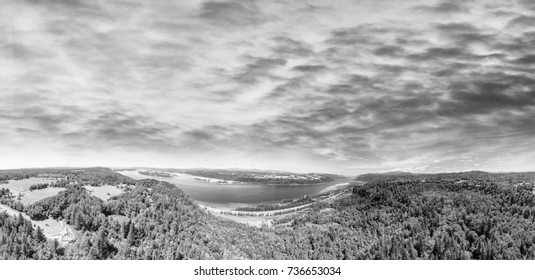 Black and White view of Columbia River Gorge in Oregon, panoramic aerial view.