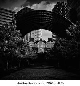 Black and white view of Ebisu area, Tokyo, Japan