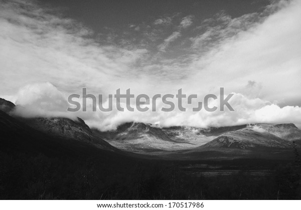 Black and white view of Khibiny mountains in Russia