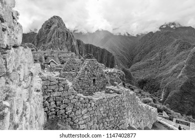 Black and white view of Machu Picchu on a moody day