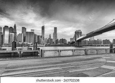 Black and white view of Manhattan from Brooklyn Bridge Park, New York.