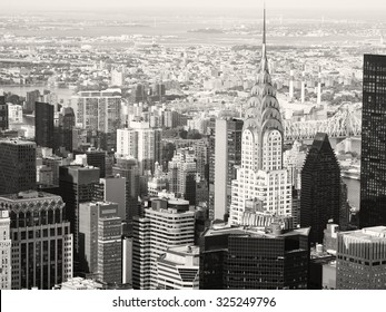 Black and white view of midtown Manhattan in New York City