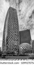 Black and white view of Mode Gakuen Cocoon Tower, Shinjuku, Tokyo, Japan