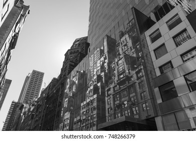 Black and white view at New York business center skyscraper building view. NYC. USA