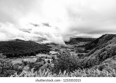 Black and White view of Pastures near Sete Cidades in Sao Miguel, Portugal.