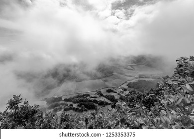 Black and white view of Pastures in the Sete Cidades caldera from the rim in Sao Miguel.
