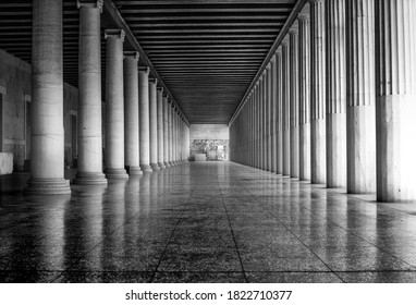 Black and white view of the Stoa of Attalos, geometric composition