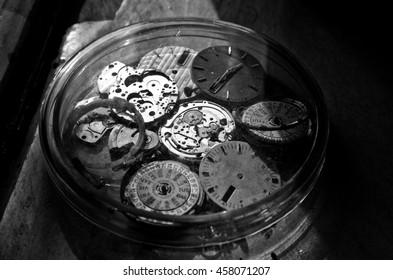 Black and white vintage  Clock Repair,selective focus