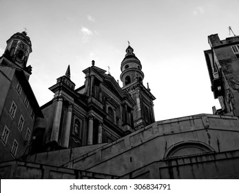 Black and white vintage old building church