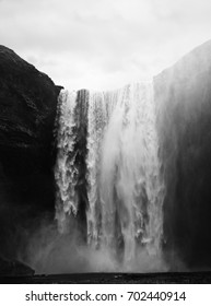 Black and White Waterfall Iceland - skogafoss