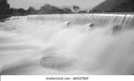 Black and White Waterfalls