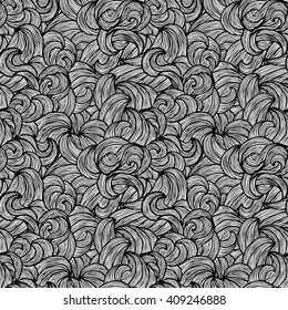 Black and white wave pattern, seamless background, illustration