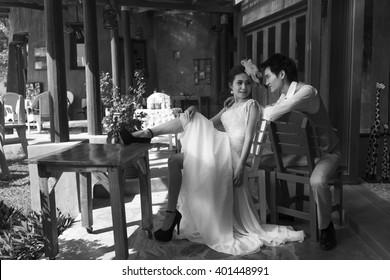Black and white Wedding Photography of Thai couple
