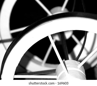 Black and white wheels and spokes.
