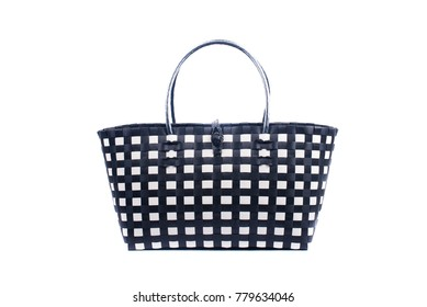 black and white wicker woman's tote bag, isolated on white background
