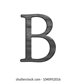 Black and white wooden textured uppercase or capital letter B in a 3D illustration with a wood grain texture in an antique bookletter font isolated on a white background with clipping path.