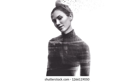 Black and white young woman studio portrait