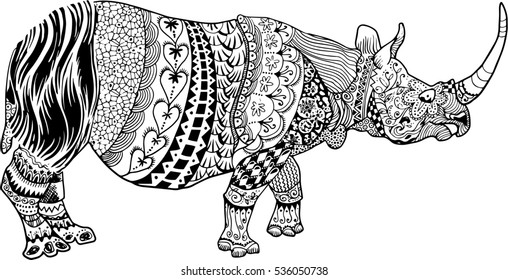 Black and White Zen Doodle Line art Rhino