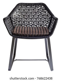 Black wicker chair isolated.