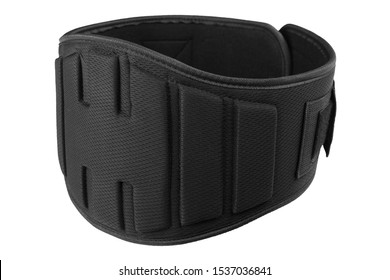 black wide belt for powerlifting, on a white background, belt fastened, isolate