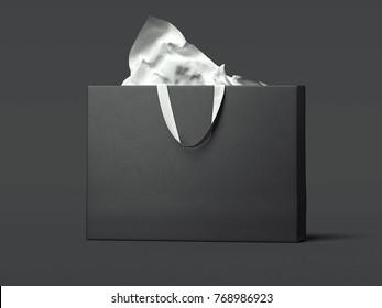 Black wide shopping bag isolated on the dark background. 3d rendering