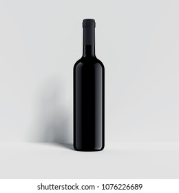 Black wine bottle on the white background with shadow on the wall, 3d rendering