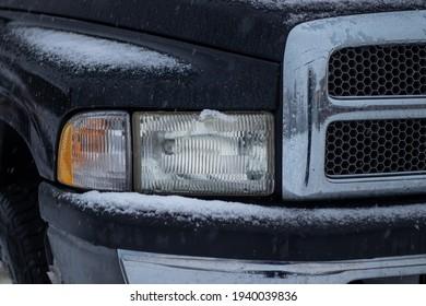 Black winter truck close up