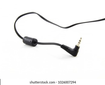 Black wire cable of usb and adapter isolated on white background.Electronic Connector.Selection focus.