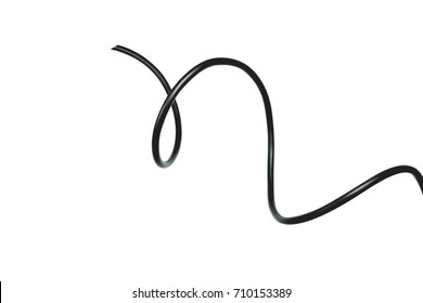 black wire isolated on a white background abstraction.