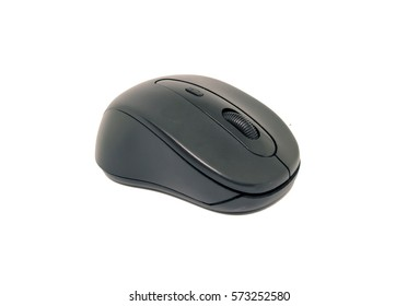 Black wireless computer mouse isolated on white background.