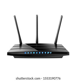 Black Wireless Dual Band Gigabit Internet Wi-Fi Router Isolated on White Background. 3 External and 3 Internal Antennas. Blue Indicators. Dual Multifunctional Usb Ports. High Speed Internet Connection