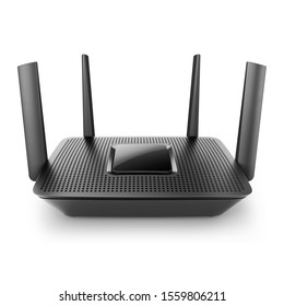 Black Wireless Dual Band Gigabit Internet Wi-Fi Router Isolated on White Background. Four Antennas & MU-MIMO. Beamforming Technology and Wireless Repeater. High Speed Internet Connection