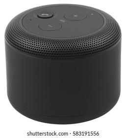 Black wireless portable bluetooth speaker, isolated on white background.