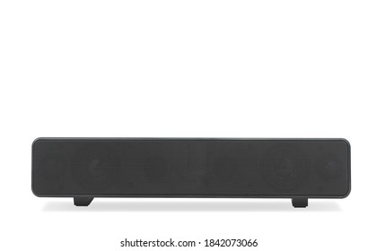 Black wireless sound bar speaker on isolated white background - Shutterstock ID 1842073066