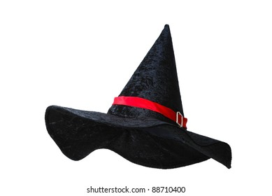 Black witch hat with red strip isolated on white background